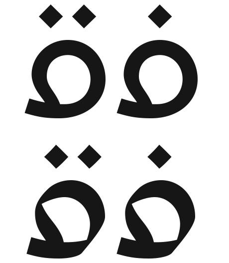 Fa' & Qaf Glyphs in both UA Neo B & N