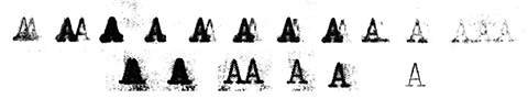 Scans of the letter A glyph with different trials.