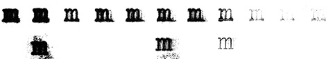 Scans of the letter m glyph with different trials.