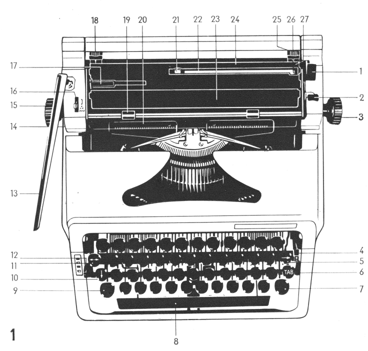 Technical drawing of the Optima typewriter found in its original catalogue.