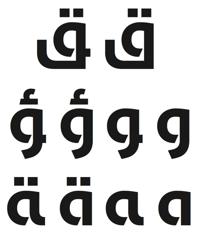 The open counter characteristic in some glyphs within Noor Type.